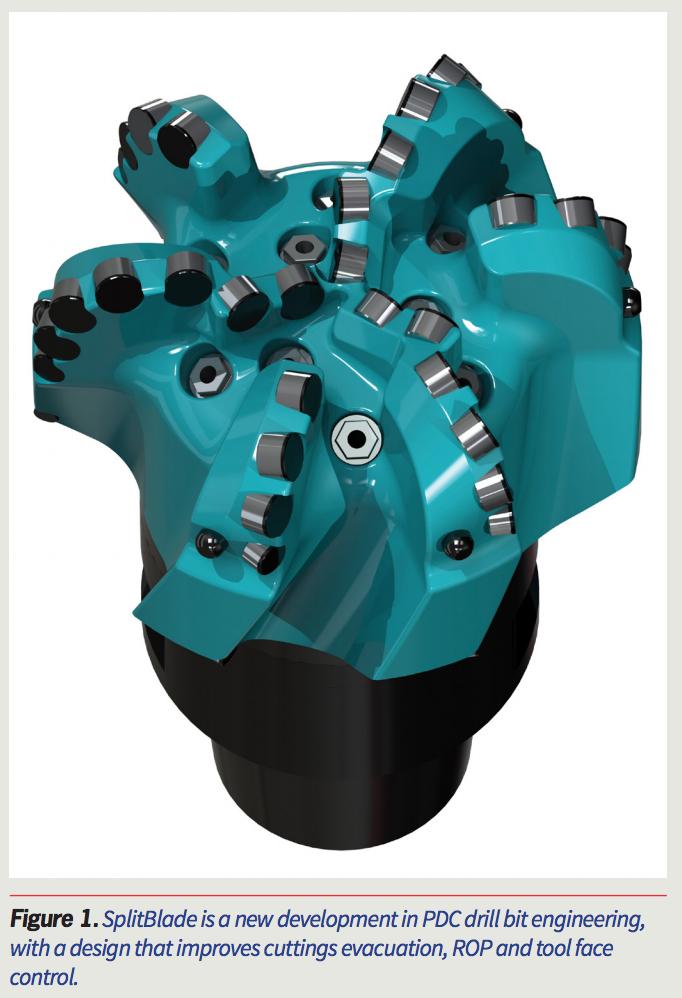 SplitBlade is a new development in PDC drill bit engineering, with a design that improves cuttings evacuation, ROP and tool face control.
